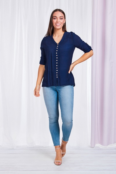 3/4 Roll up sleeve blouse
