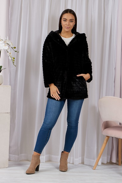 FAUX FUR REVERSIBLE COAT