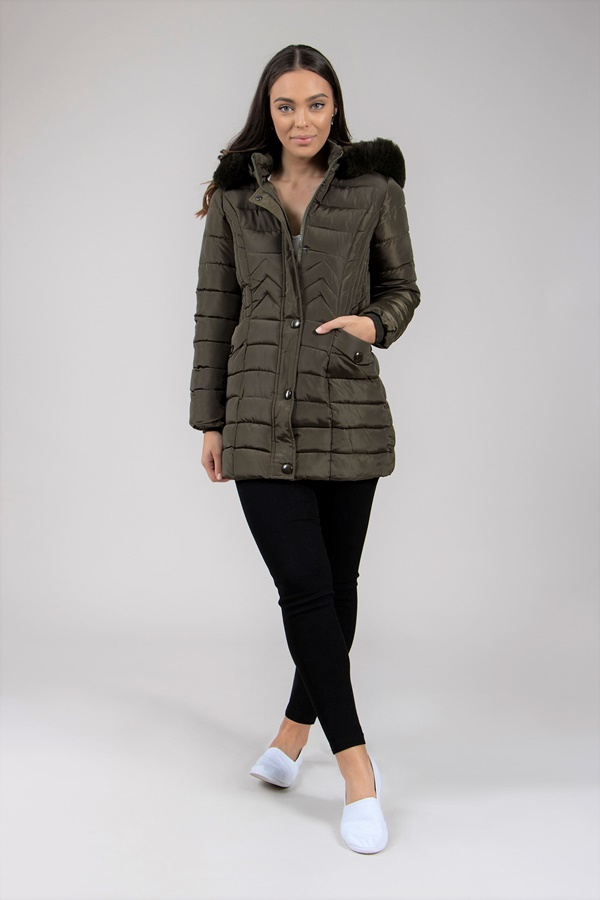 Fur Trim Puffer Coat