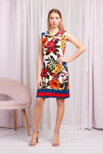 TROPICAL FLORAL SHIFT DRESS