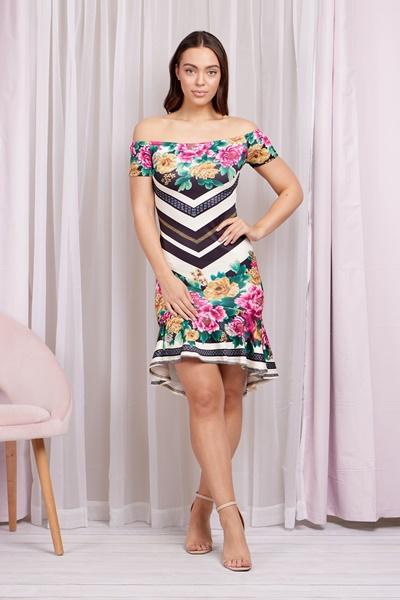 Floral Stripe Bodycon Dress