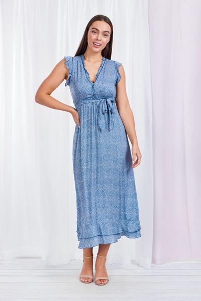 Printed FRILL MAXI DRESS