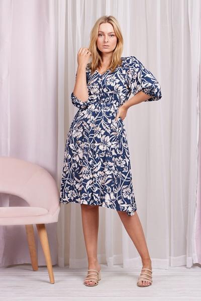 Floral shirred waist dress