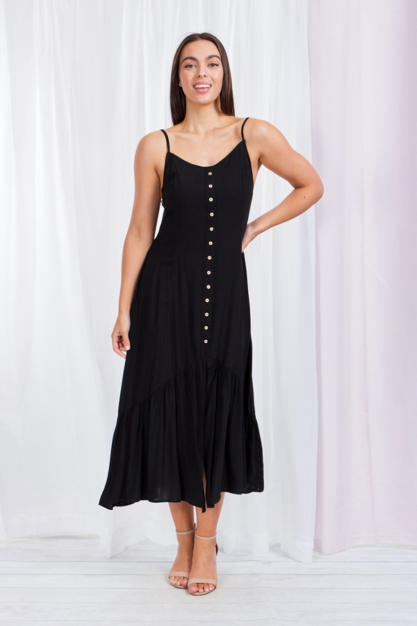 SOLID BUTTON FRONT STRAPPY DRESS