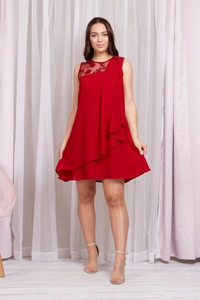 Lace Yoke Swing Dress