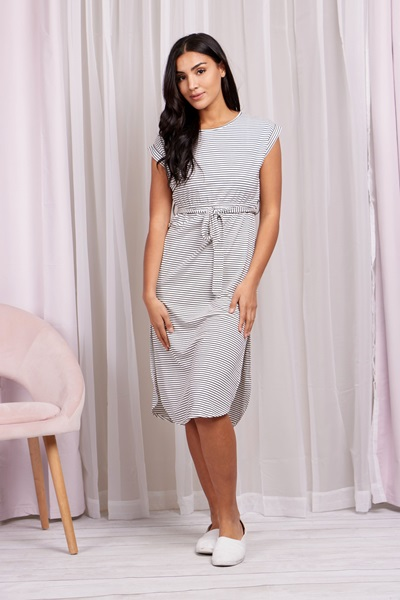 Stripe curved Hem Dress