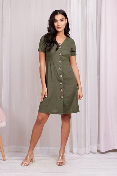 Linen front button dress