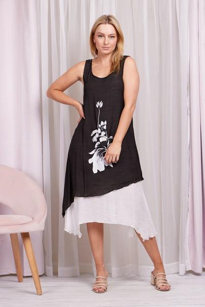 Double Layer Flower Print Dress