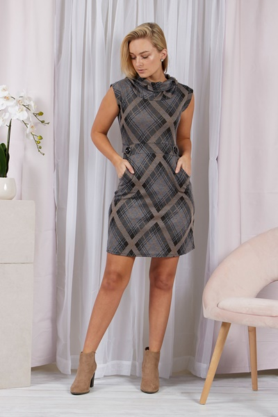 Cowl Neck Checked Dress