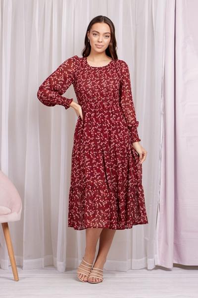 Shirred floral maxi dress