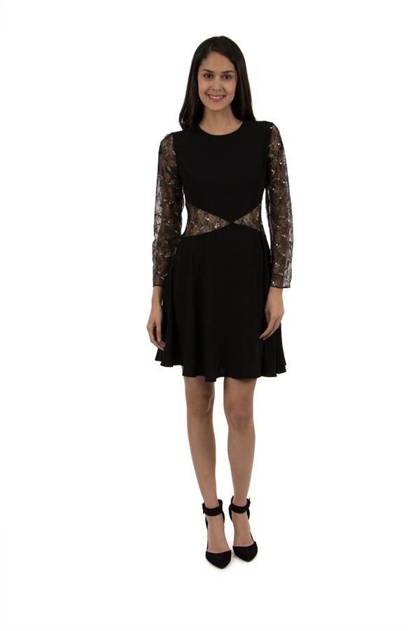 lace panel cut-out detail dress