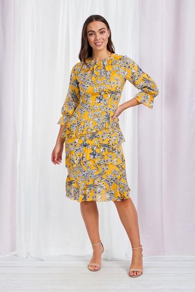 Floral & Frill Midi Dress