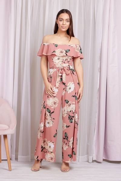 FLORAL OFF THE SHOULDER JUMPSUIT