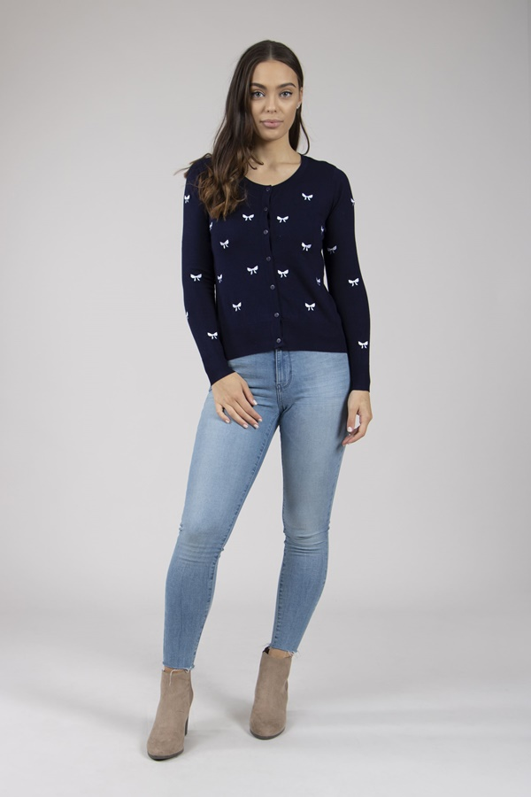 Embroidered Bow Cardigan