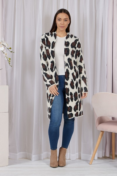 Leopard Eyelash Knit Cardigan