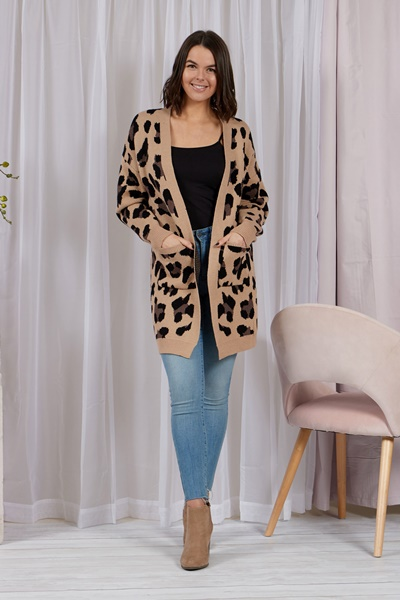 LEOPARD CARDIGAN WITH FRONT POCKETS
