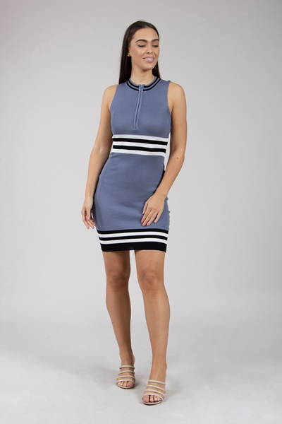 6d546564a8f128 Nautical Striped Knitted Dress