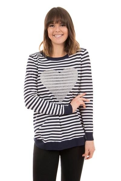 Heart Print Stripe Jumper
