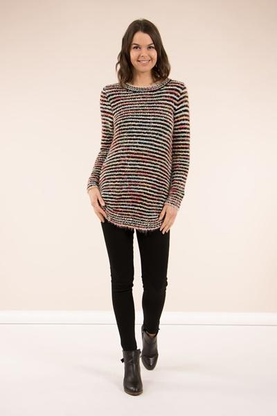 Stripe Fluffy Knit Jumper