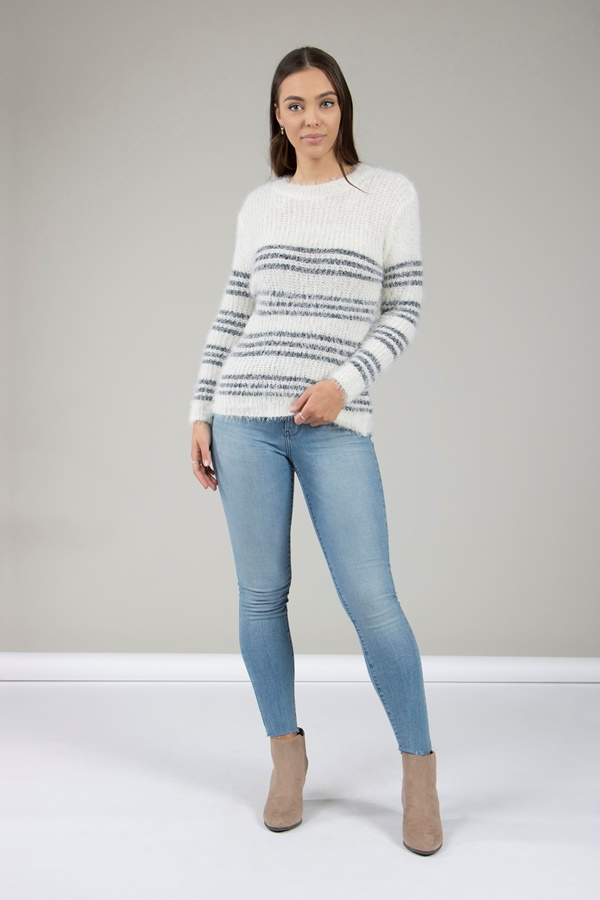 Stripe Fluffy Jumper