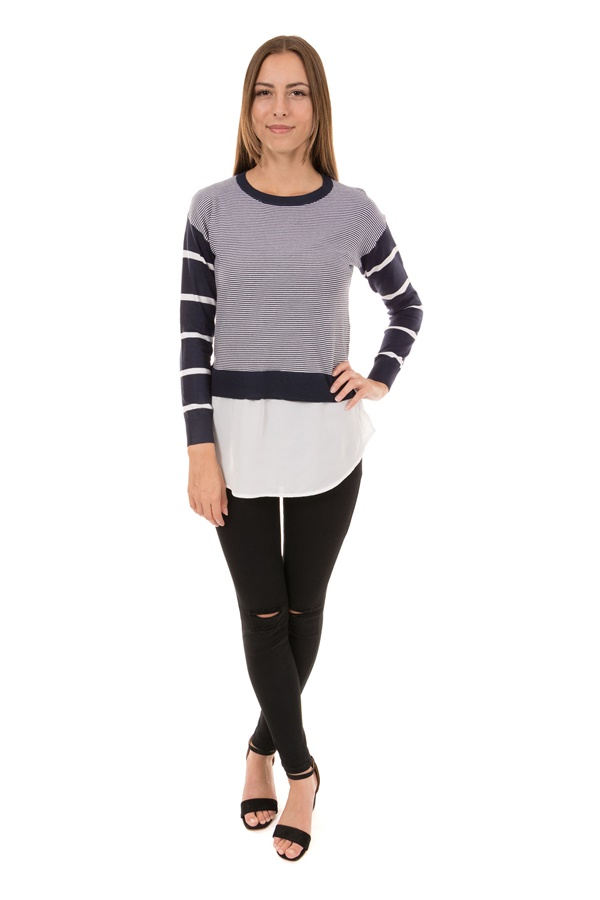 Stripe Jumper With Woven Underlay Hem