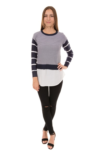 Stripe Jumper With Woven Underlay Hem