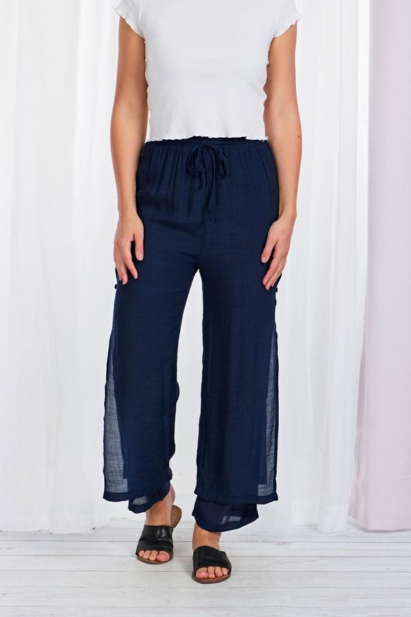 Wide leg double layer pants