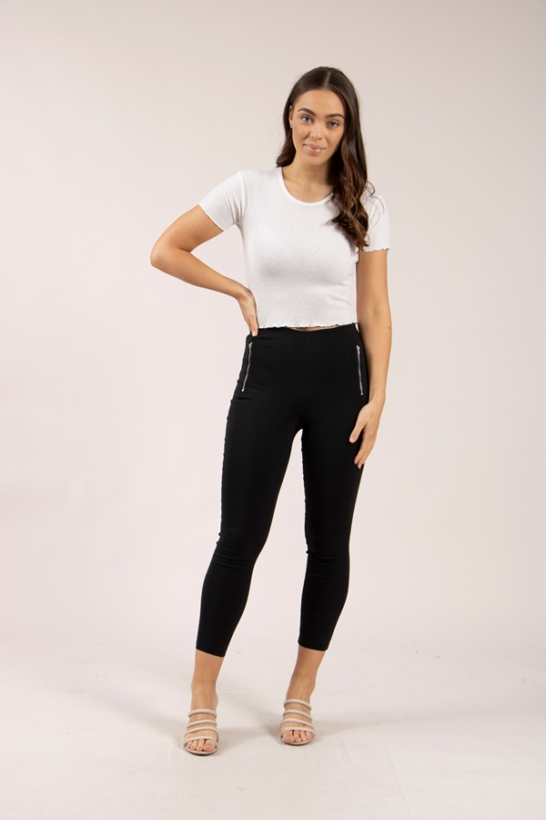 Slim Side Zip Trim Pants