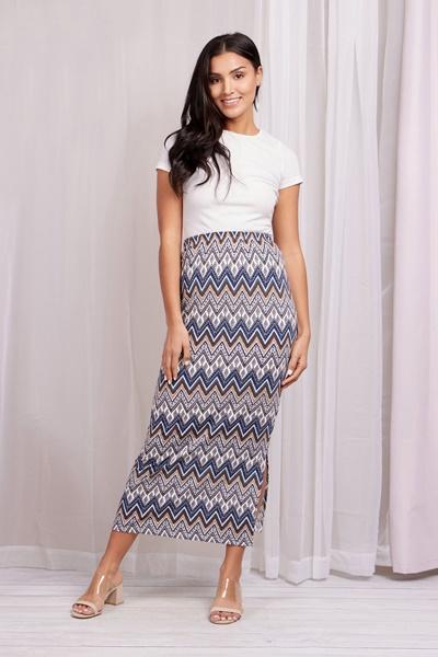 CHEVRON side split bodycon skirt