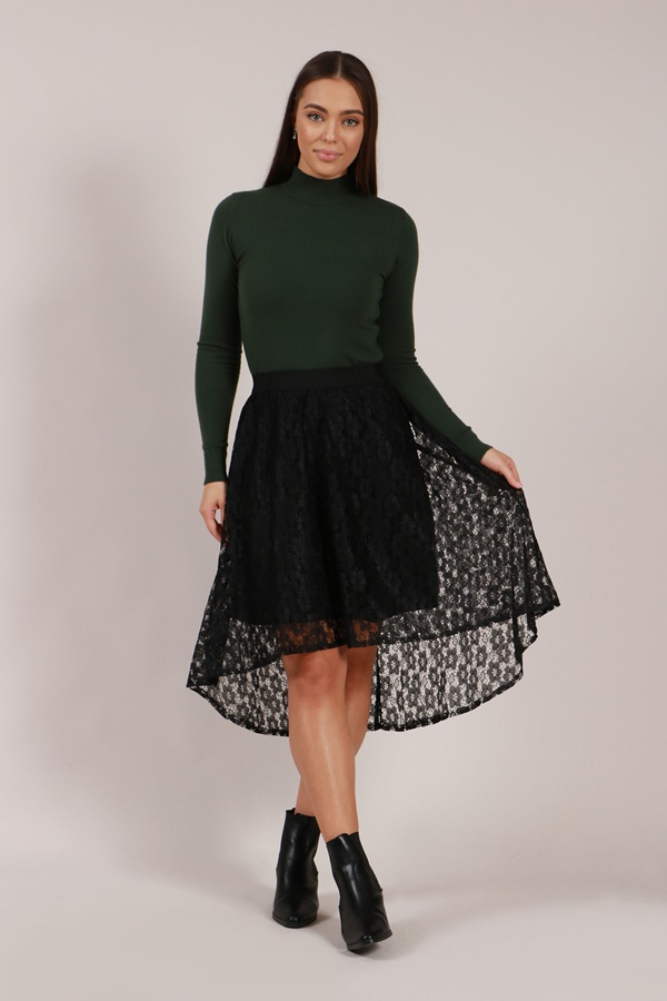 Lace Asymmetric Skirt