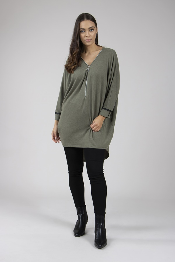 Zip Front Knit Tunic