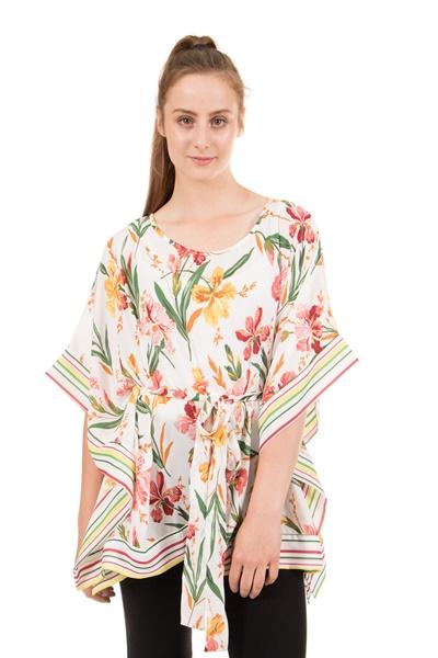 Floral Print Poncho
