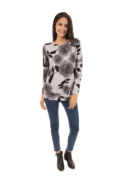 Monochrome Rose Printed Knit Top
