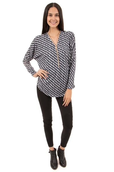 Zip Front Geometric Printed Knit Top