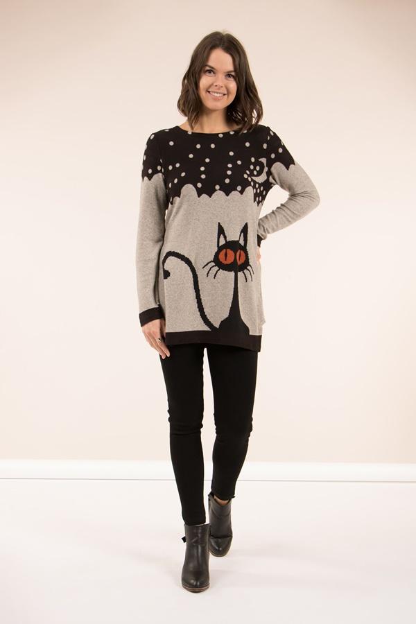 Cat print jumper