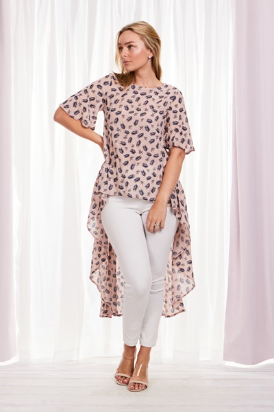 LEAF PRINT HI LO TOP