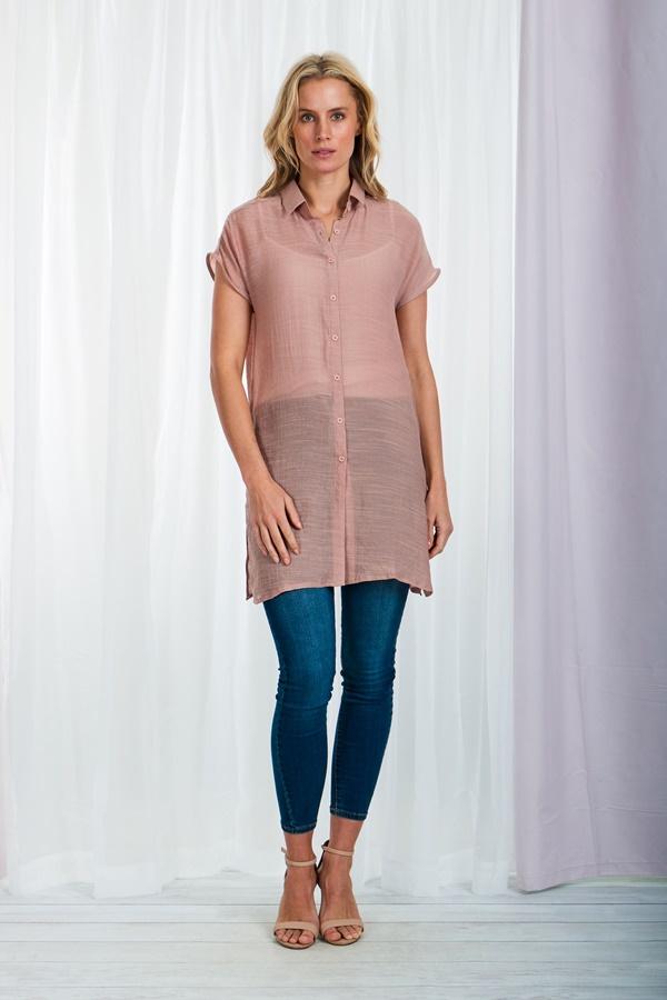 Cap sleeve longline shirt