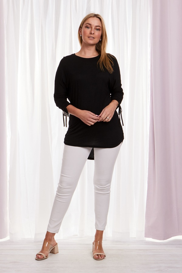 RUCHED SLEEVE SOLID TOP
