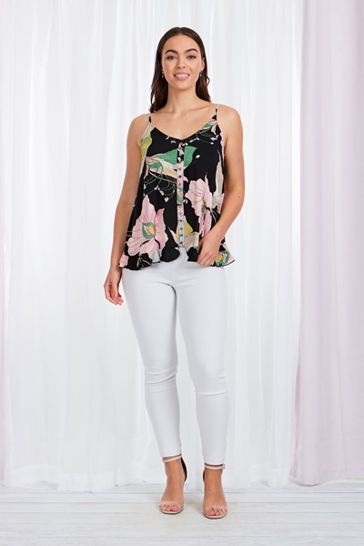 Floral Button front cami top