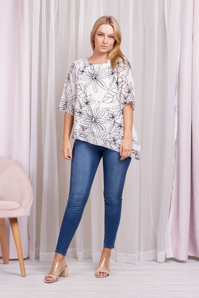 Floral Embroidery Asymmetric Top