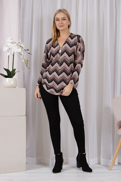 Zigzag Zipper Top