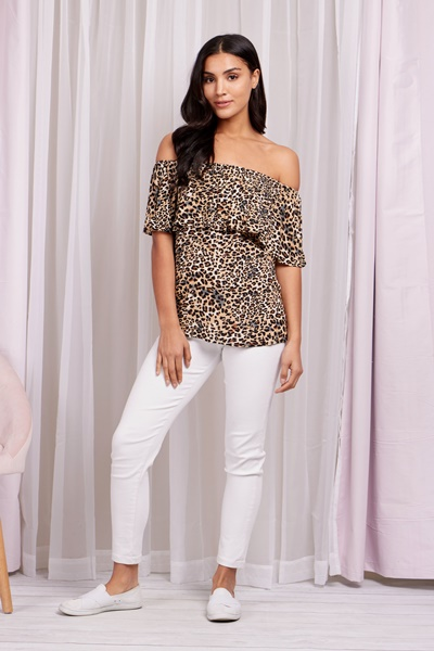 Leopard off shoulder top