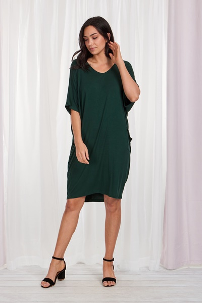 Oversized solid tunic dress