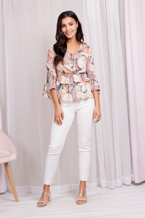 Abstract Frill Hem Blouse