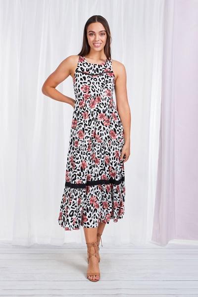 Animal & Floral Smock Dress