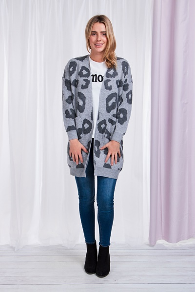 Animal Cardigan with Front Pockets