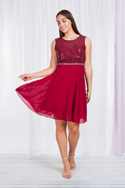 BACKLESS SKATER DRESS WITH SEQUIN BODICE