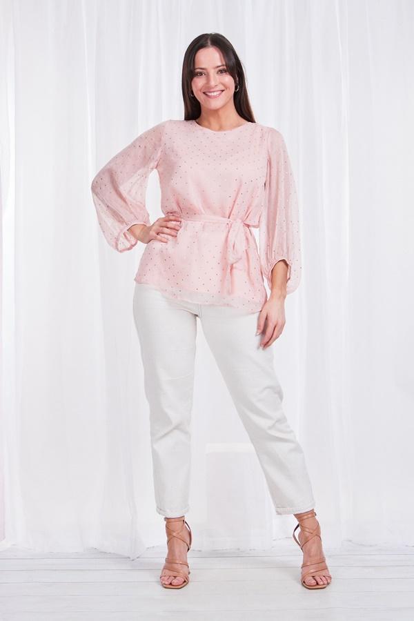 Balloon sleeve printed chiffon blouse