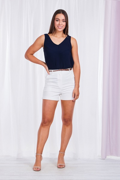 BERMUDA SHORTS WITH BRAIDED BELT