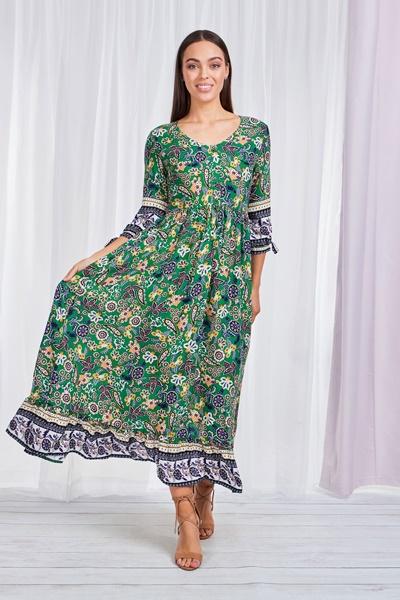 Boho Border Print Maxi Dress